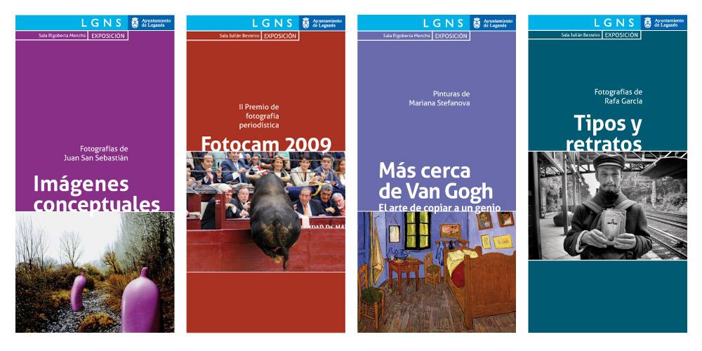 Folletos culturales del Ayuntamiento de Leganés. Portadas.